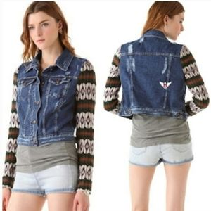FREE PEOPLE Nordic Distressed Jean Jacket